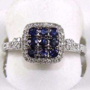 Round Blue Sapphire & Diamond Ring 14k WG 0.72Ct